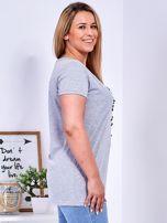 T-shirt jasnoszary z gwiazdą z perełek PLUS SIZE                                  zdj.                                  3