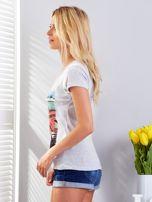T-shirt jasnoszary z motywem samochodu                                  zdj.                                  5