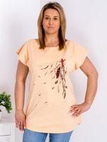 T-shirt pomarańczowy z nadrukiem boho PLUS SIZE                                  zdj.                                  1