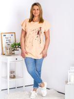 T-shirt pomarańczowy z nadrukiem boho PLUS SIZE                                  zdj.                                  4