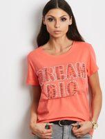 T-shirt pomarańczowy z napisem cut out                                  zdj.                                  1