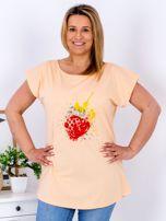 T-shirt pomarańczowy z truskawką PLUS SIZE                                  zdj.                                  1