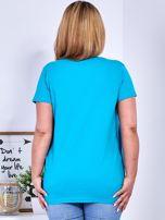 T-shirt turkusowy z gwiazdą z perełek PLUS SIZE                                  zdj.                                  2