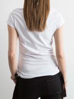 T-shirt z napisami biały                                  zdj.                                  2