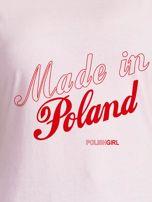T-shirt z patriotycznym nadrukiem MADE IN POLAND jasnoróżowy                                  zdj.                                  2