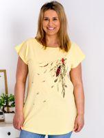 T-shirt żółty z nadrukiem boho PLUS SIZE                                  zdj.                                  1