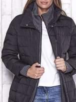 TOM TAILOR Czarny płaszcz z wełnianym wykończeniem