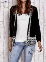 TOM TAILOR Czarny sweter o szerokim splocie z frędzlami                                  zdj.                                  1
