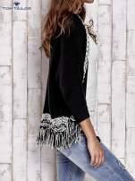 TOM TAILOR Czarny sweter o szerokim splocie z frędzlami                                  zdj.                                  3