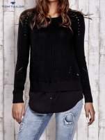 TOM TAILOR Czarny sweter z koszulą                                  zdj.                                  1