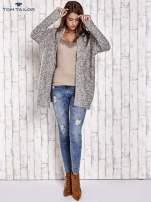 TOM TAILOR Ecru fakturowany sweter kardigan                                   zdj.                                  2