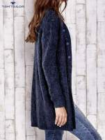 TOM TAILOR Granatowy melanżowy sweter z zapięciem na guziki                                  zdj.                                  4