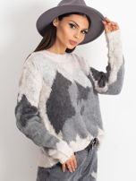 TOM TAILOR Kremowy wełniany sweter z abstrakcyjnym deseniem