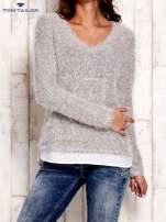 TOM TAILOR Szary warstwowy sweter long hair                                  zdj.                                  1