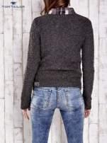 TOM TAILOR Szary wełniany sweter w kratkę