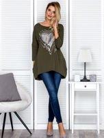 Tunika damska z malarskim sercem khaki                                  zdj.                                  4