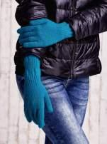 Ecru długie rękawiczki z przeszywanym ściągaczem                                                                          zdj.                                                                         3