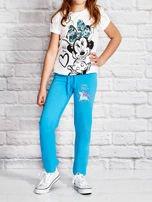 Turkusowe spodnie dresowe dla dziewczynki z kolorowym jednorożcem                                  zdj.                                  4