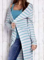 Turkusowy długi sweter w paski                                  zdj.                                  5