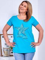 Turkusowy t-shirt z błyszczącą gwiazdą PLUS SIZE                                  zdj.                                  1