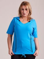 Turkusowy t-shirt z kapturem PLUS SIZE                                  zdj.                                  1