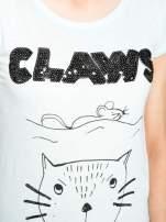 Turkusowy t-shirt z nadrukiem kota i myszy                                                                          zdj.                                                                         7