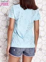 Turkusowy t-shirt z napisem BONJOUR                                  zdj.                                  4