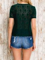 VERO MODA Ciemnozielony ażurowy t-shirt                                                                          zdj.                                                                         4