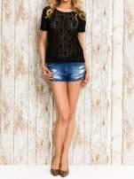 VERO MODA Czarny ażurowy t-shirt                                  zdj.                                  2