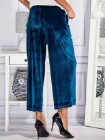 Welurowe spodnie flare z troczkami turkusowe                                  zdj.                                  2