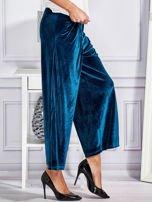 Welurowe spodnie flare z troczkami turkusowe                                  zdj.                                  3