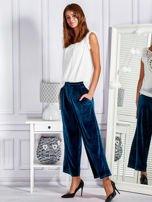 Welurowe spodnie flare z troczkami turkusowe                                  zdj.                                  4