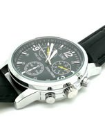 ZEMGE Zegarek unisex czarny na skórzanym czarnym pasku Eleganckie pudełko prezentowe w komplecie                                  zdj.                                  6
