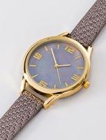 Zegarek damski szaro-złoty z perłową tarczą                                  zdj.                                  2