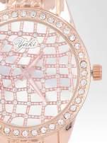 Zegarek damski na bransolecie z cyrkoniową kopertą z różowego złota                                  zdj.                                  6
