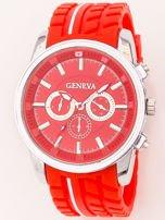 Zegarek męski czerwony z ozdobnym chronografem i wzorem bieżnika na pasku                                   zdj.                                  3