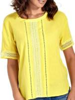 Zielona bluzka koszulowa z ażurowaniem