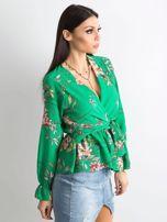 Zielona bluzka w kwiaty z falbaną                                  zdj.                                  3