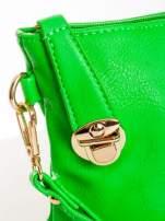 Zielona kopertówka z dżetami motyw apple