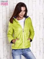 Zielona pikowana kurtka z wykończeniem w groszki                                  zdj.                                  4