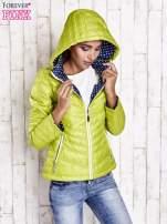 Zielona pikowana kurtka z wykończeniem w groszki                                  zdj.                                  5
