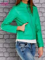 Zielona skórzana kurtka o klasycznym kroju                                                                          zdj.                                                                         4