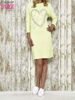 Zielona sukienka dresowa z sercem z dżetów                                                                          zdj.                                                                         2