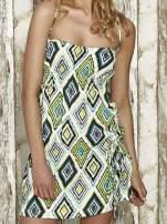 Zielona sukienka na gumkę w geometryczne wzory Funk n Soul