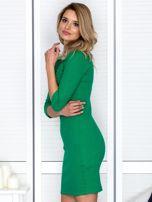 Zielona sznurowana sukienka w prążek                                  zdj.                                  5