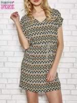 Zielona wzorzysta sukienka ze złotym plecionym paskiem                                                                          zdj.                                                                         1