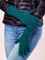 Zielone długie rękawiczki z drapowanym rękawem                                                                          zdj.                                                                         2