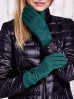 Brązowe długie rękawiczki z kokardą i prążkowanym ściągaczem                                                                          zdj.                                                                         1