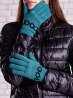 Zielone rękawiczki z napisem COOL i z wywijanym ściągaczem                                  zdj.                                  1