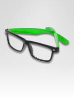 Zielono-czarne okulary zerówki kujonki typu WAYFARER NERDY-z soczewką ANTYREFLEKSYJNĄ                                  zdj.                                  3